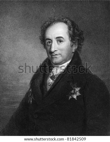 Johann Wolfgang von Goethe (1749-1832). Engraved by J.Pofselwhite and published in The Gallery Of Portraits With Memoirs encyclopedia, United Kingdom, 1833. - stock photo