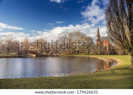 Johannapark, Luther church, Leipzig centre, Saxony, Germany - stock photo