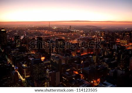 Johannesburg at sunset - stock photo