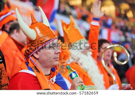 JOHANNESBURG - JULY 11 :  Final at Soccer City Stadium: Spain vs. Netherlands on July 11, 2010 in Johannesburg.  Dutch supporters watching the final match