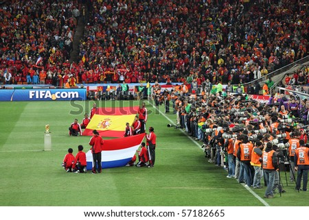 JOHANNESBURG - JULY 11 :  Final at Soccer City Stadium: Spain vs. Netherlands on July 11, 2010 in Johannesburg.  Closing ceremony before the final match - stock photo