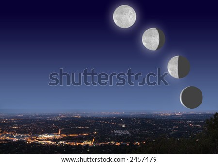 Johannesburg night cityscape with big bright moon phases on blue black sky - stock photo