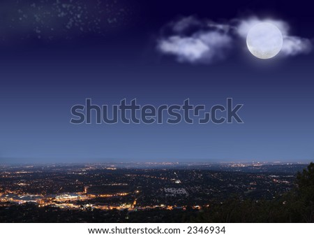 Johannesburg night cityscape with big bright moon, stars and clouds on blue black sky - stock photo