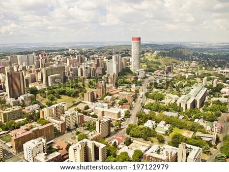 Johannesburg Skyline Areal view  - stock photo