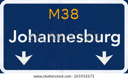 Johannesburg South Afrca Highway Road Sign - stock photo