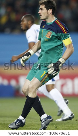 JOHANNESBURG, SOUTH AFRICA - JUNE 21:  Iker Casillas of Spain in action during a World Cup match against Honduras June 21, 2010 in Johannesburg, South Africa.  Editorial only.  No mobile device use. - stock photo