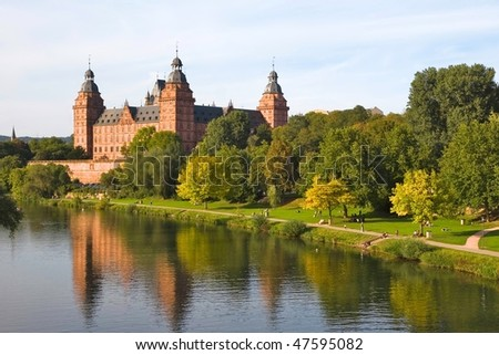 Johannisburg Castle on the Main river in Aschaffenburg, Bavaria - Germany - stock photo