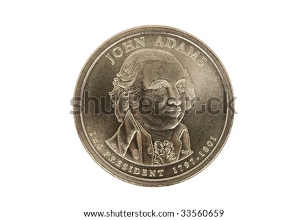 John Adams Presidential Dollar coin with clipping path. - stock photo