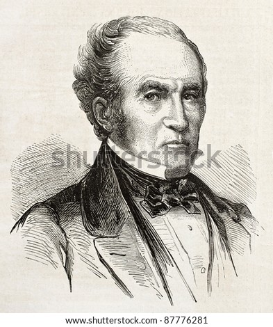 John Bell old engraved portrait, Unionist Presidential candidate in 1861. Created by Bayard, published on L'Illustration, Journal Universel, Paris, 1860 - stock photo