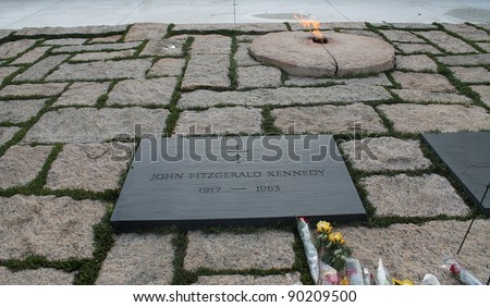 John F. Kennedy and Eternal Flame  Arlington Cemetery Virginia - stock photo