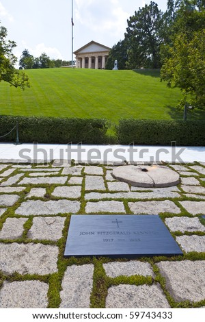John F. Kennedy Eternal Flame presidential memorial - stock photo