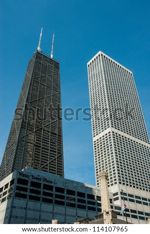 John Hancock building on Michigan Ave (Magnificent Mile) in Chicago - stock photo