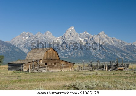 John Moulton Barn just east of the Grand Tetons mountains in Western Wyoming. - stock photo