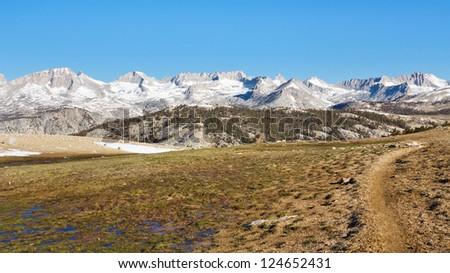 John Muir Trail at Bighorn Plateau in Sequoia National Park, Sierra Nevada, California, USA. - stock photo