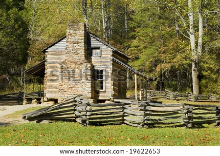 John Oliver Cabin, cades cove, Smoky mountains, Tennessee - stock photo