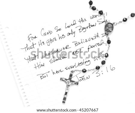 John 3:16 with rosary - stock photo