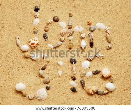 John 3:16 written in an assortment of small shells on a smooth sandy beach - stock photo