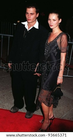 """JOHNNIE DEPP & girlfriend supermodel KATE MOSS at the premiere of his new movie, """"Donnie Brasco,"""" in which he stars with Al Pacino. Pix: PAUL SMITH - stock photo"""