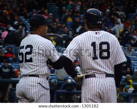Johnny Damon And First Base Coach - stock photo