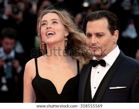 Johnny Depp, Amber Heard at the premiere of Black Mass at the 2015 Venice Film Festival. September 4, 2015  Venice, Italy  - stock photo