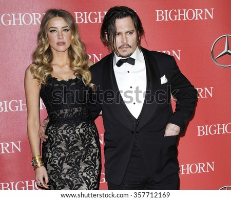Johnny Depp and Amber Heard at the 27th Annual Palm Springs International Film Festival Awards Gala held at the Palm Springs Convention Center in Palm Springs, USA on January 2, 2016. - stock photo