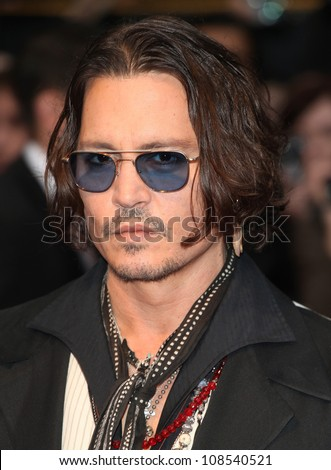 Johnny Depp arriving for the European Premiere of 'Dark Shadows' at Empire Leicester Square, London. 09/05/2012 Picture by: Alexandra Glen / Featureflash - stock photo