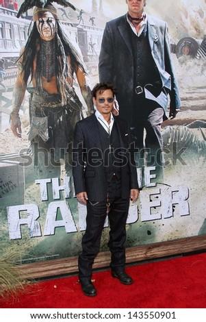 "Johnny Depp at ""The Lone Ranger"" Premiere, Disney's California Adventure, Anaheim, CA 06-22-13 - stock photo"