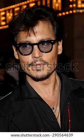 Johnny Depp at the Los Angeles premiere of 'Pirates Of The Caribbean: On Stranger Tides' held at the Disneyland in Anaheim on May 7, 2011.  - stock photo
