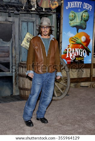 """Johnny Depp at the Los Angeles Premiere of """"Rango"""" held at the Regency Village Theater in Los Angeles, California, United States on February 14, 2011.  - stock photo"""