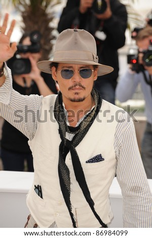 """Johnny Depp at the photocall for his movie """"Pirates of the Caribbean: On Stranger Tides"""" at the 64th Festival de Cannes. May 14, 2011  Cannes, France Picture: Paul Smith / Featureflash - stock photo"""