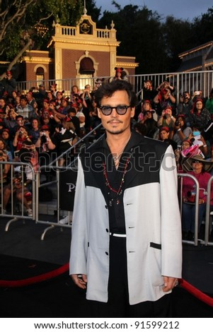 "Johnny Depp at the ""Pirates of the Caribbean: On Stranger Tides"" World Premiere, Disneyland, Anaheim, CA. 05-07-11 - stock photo"