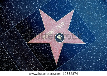 Johnny Depp star on the Hollywood Walk of Fame. - stock photo