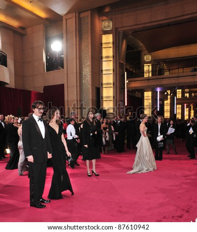 Johnny Depp & Vanessa Paradis at the 80th Annual Academy Awards at the Kodak Theatre, Hollywood, CA. February 24, 2008 Los Angeles, CA Picture: Paul Smith / Featureflash - stock photo