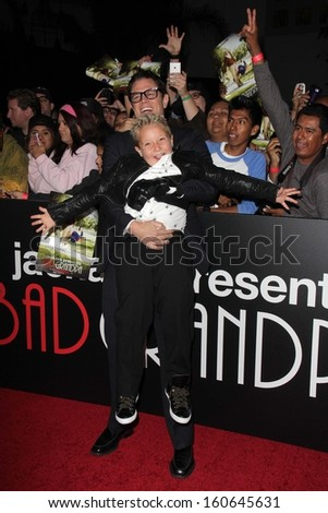 """Johnny Knoxville and Jackson Nicoll at the """"Jackass Presents: Bad Grandpa"""" Los Angeles Premiere, Chinese Theater, Hollywood, CA 10-23-13 - stock photo"""