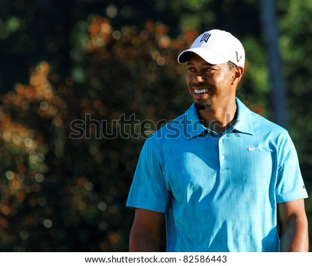 JOHNS CREEK, GEORGIA, USA - AUG 10: Tiger Woods waits to swing during practice rounds at the 2011 PGA Championship tournament in Jonhs Creek, Georgia on August 10, 2011. - stock photo