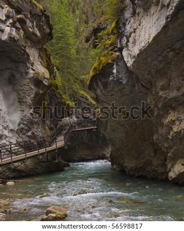 johnston canyon, banff national park, canadian rockies - stock photo