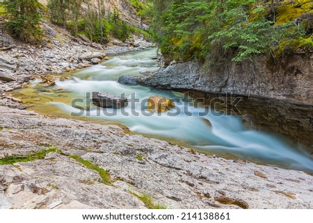 Johnston Canyon river at the banff national park - stock photo