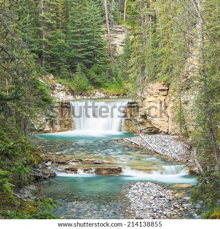 Johnston Canyon Upper Falls in the banff national park canada - stock photo