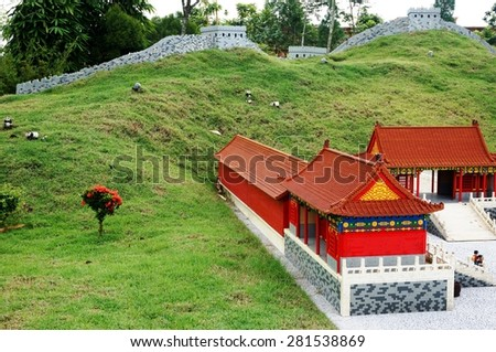 JOHOR, MALAYSIA -3 AUGUST 2014- Scenes from the Forbidden City in Beijing and the Great Wall of China built out of Lego bricks at the Miniland attraction in Legoland Malaysia, opened in 2012.  - stock photo