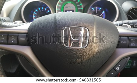 JOHOR, MALAYSIA, DECEMBER 22, 2016 : View of HONDA steering and meter. Focus on HONDA logo
