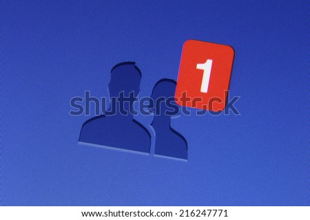 Johor, Malaysia - Jun 17, 2014: Facebook friend icon on computer monitor, Facebook is a popular free social networking website in the world, Jun 17, 2014 in Johor, Malaysia. - stock photo