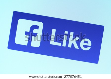 Johor, Malaysia - Mar 9, 2015: The Facebook Like button is a feature that allows users to show their support for specific comments or pictures, Mar 9, 2015 in Johor, Malaysia.  - stock photo