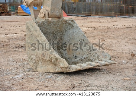 JOHOR, MALAYSIA -MAY 25, 2016: Excavator bucket used to excavate large quantities of soil.   - stock photo