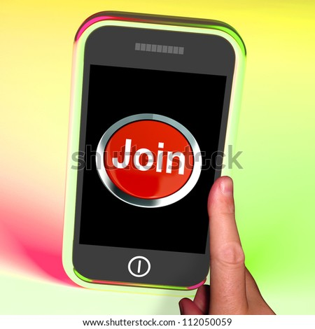 Join Button On Mobile Showing Subscription And Registration - stock photo