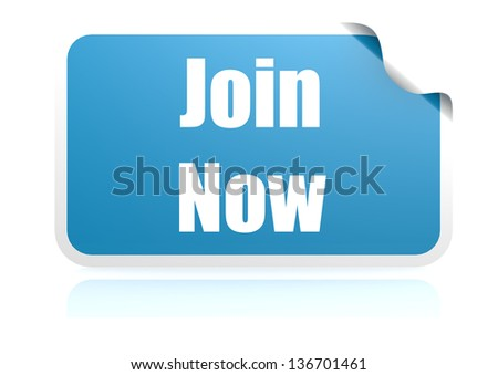 Join now blue sticker - stock photo