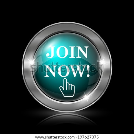 Join now icon. Metallic internet button on black background.  - stock photo