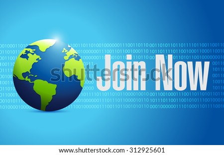 Join Now international binary sign concept illustration design graphic - stock photo