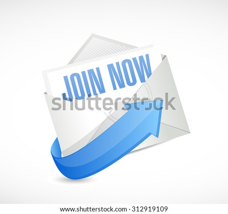 Join Now mail sign concept illustration design graphic - stock photo