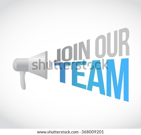 join our team megaphone message at loud. concept illustration design - stock photo