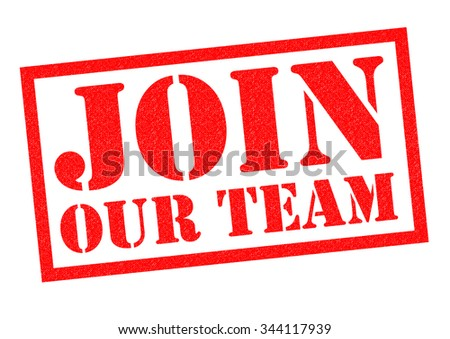 JOIN OUR TEAM red Rubber Stamp over a white background.